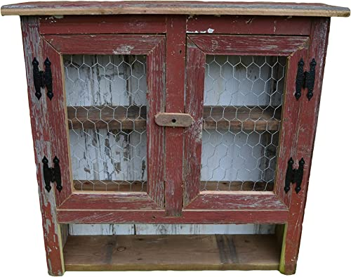 Amish Wares Country Collectible Handmade Primitive Rustic Decor Barnwood Medicine Cabinet.With two chicken wire doors.Barn wood colors may vary.