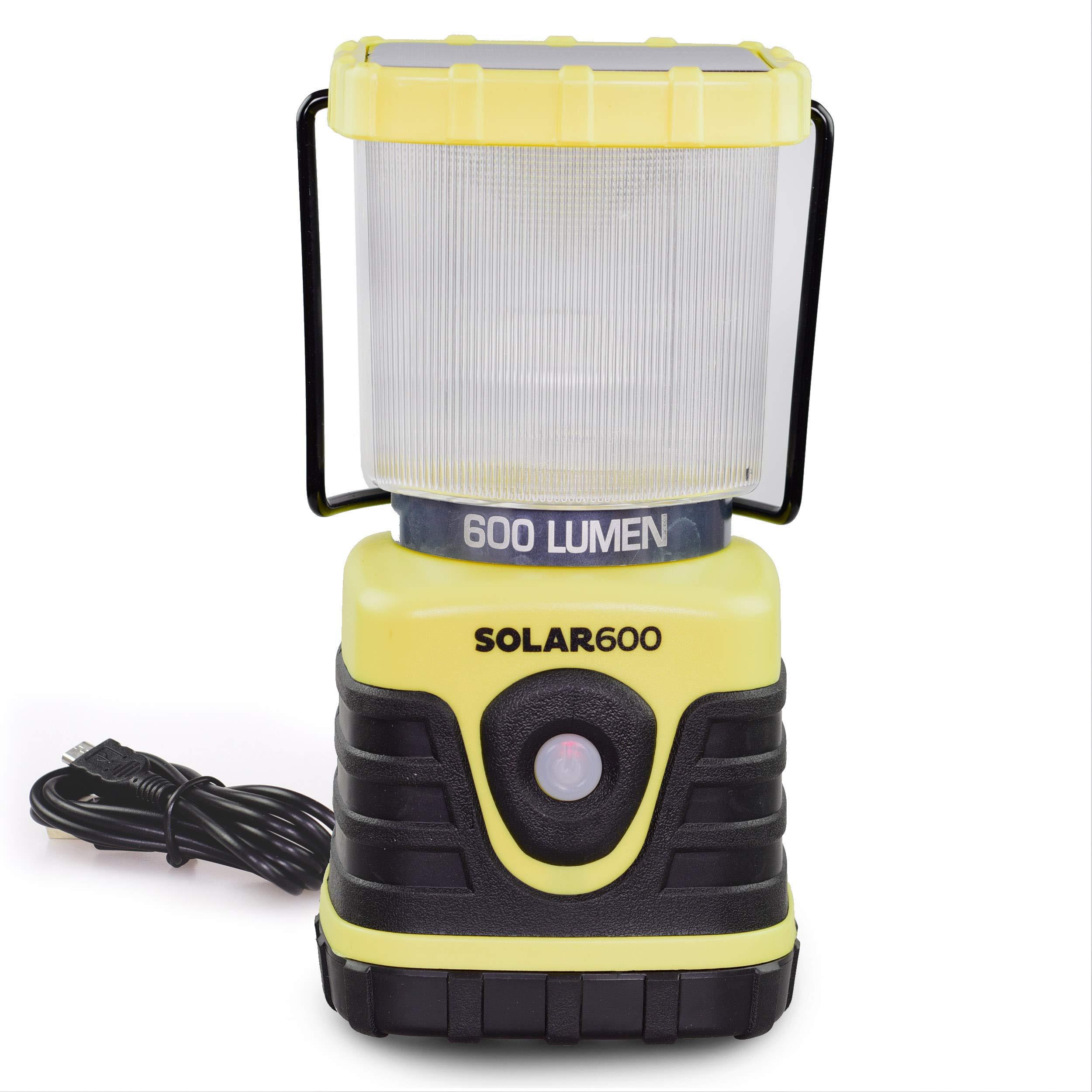 Blazin' Solar Rechargeable Lantern | 600 Lumen Solar Emergency Lantern | Battery Power Bank Phone Charger | Storm, Power Outage Lanterns | Charge Via USB or Sun by Blazin