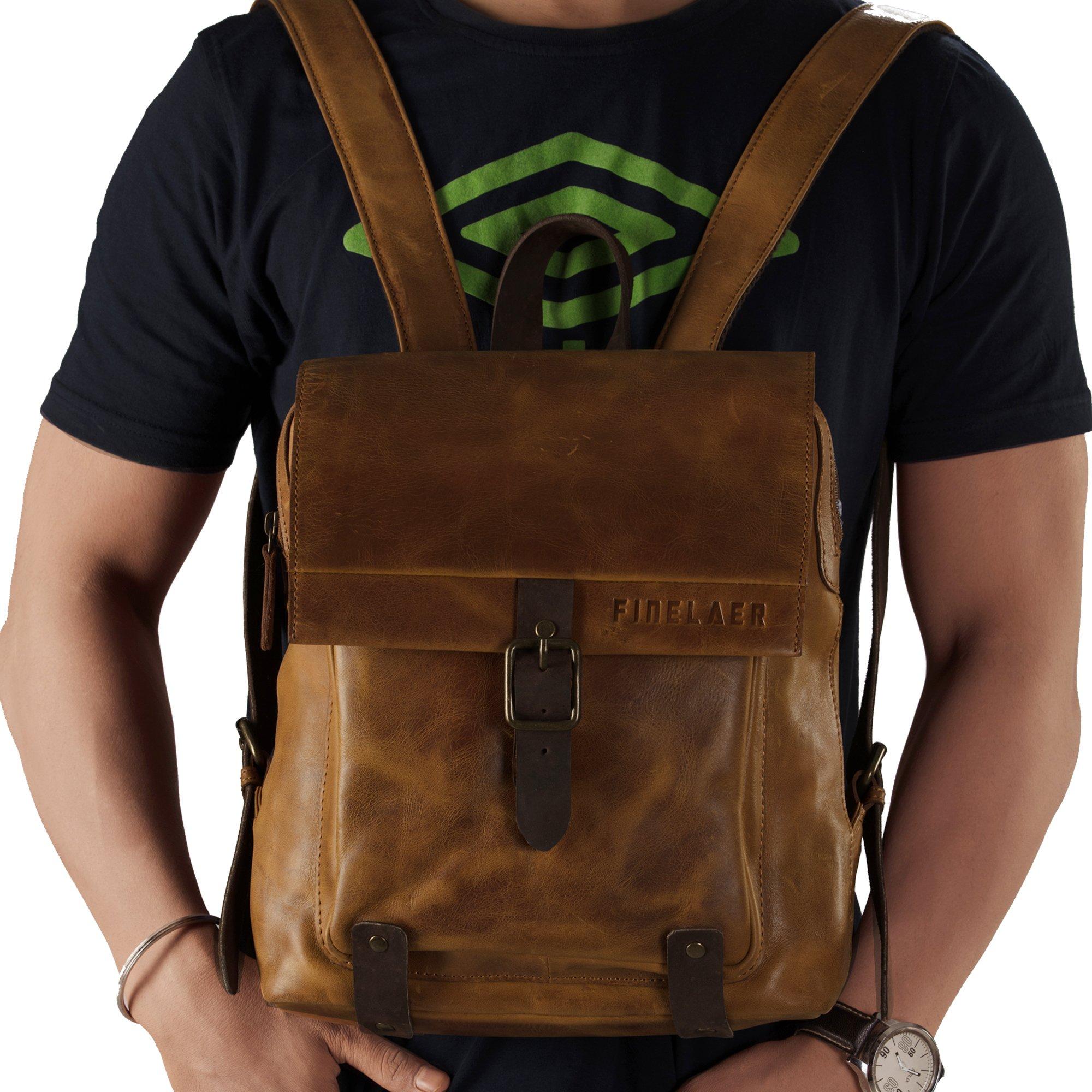 Finelaer Vintage Genuine Leather Backpack DayPack Travel College Bag Brown Men Women by FINELAER (Image #4)