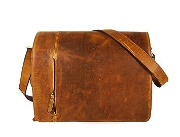 """15x11/"""" Mens Vintage Leather Messenger Crossbody College School Shoulder Bag"""