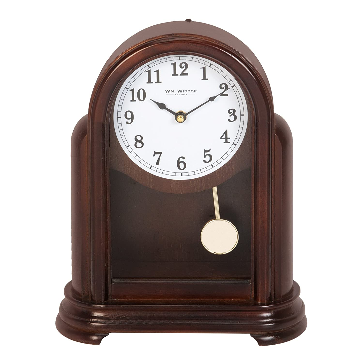 Wm Widdop Traditional Dark Wooden Case Mantel Quartz Pendulum Clock