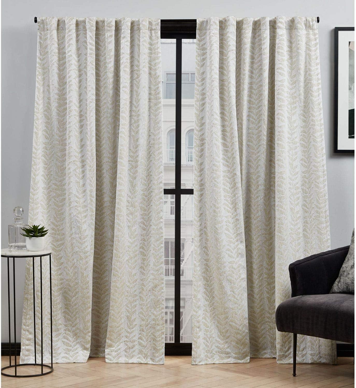 Elle Decor Ellis Botanical Light Filtering Back Tab Rod Pocket Curtain Panel Pair, 54x108, Taupe