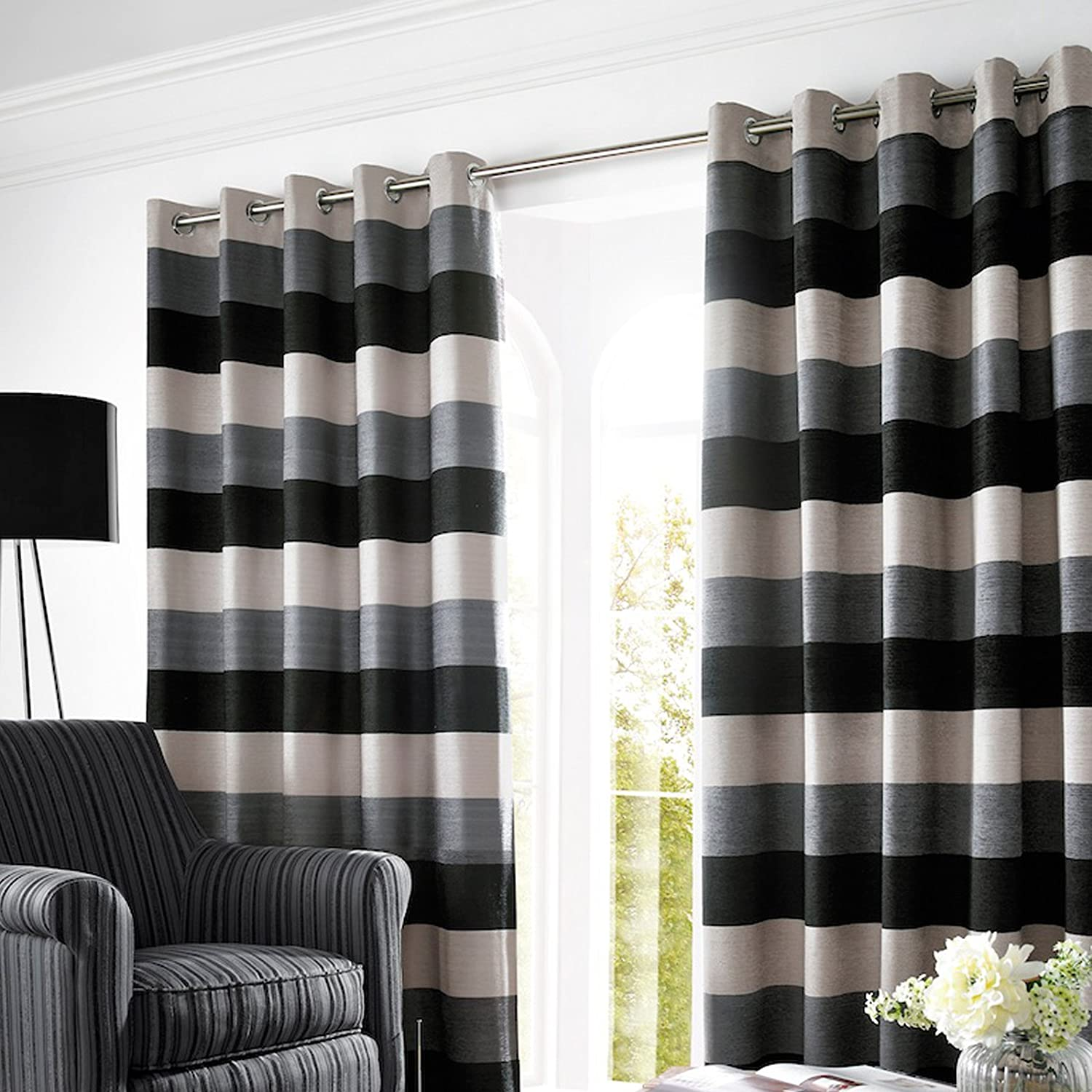 Bromley Slate Lined Ready Made Eyelet Ring Top Chenille Curtains 90in X 229cm With Horizontal Stripes In Silver Grey And Black