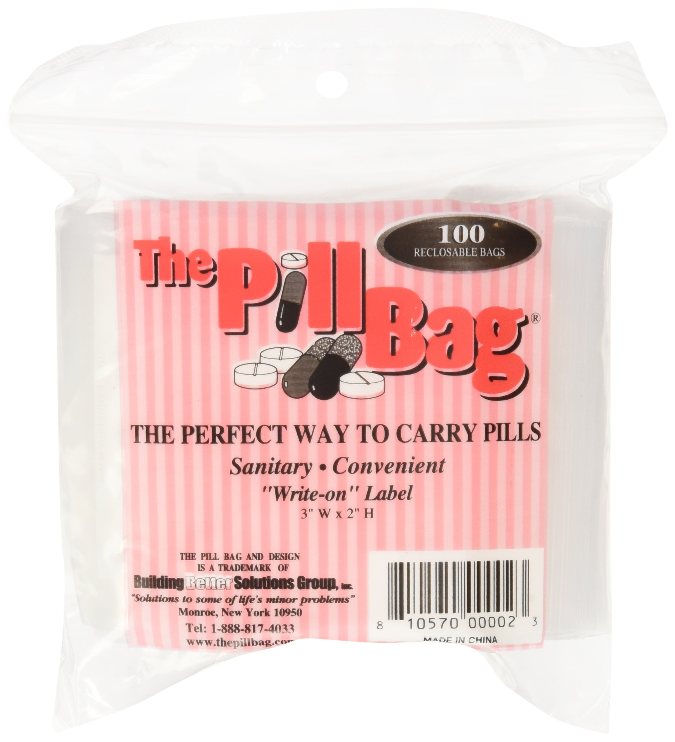 The Pill Bag, 100 Count Ziplock Bag Size 3'' X 2'' 3 Mil (2)