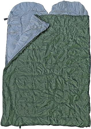 Spacious doble saco de dormir para dos personas, varios colores, Verde oliva: Amazon.es: Deportes y aire libre
