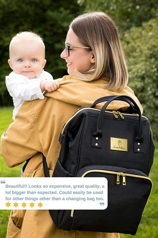 Wickeltasche mit Wickelunterlage Kein Formaldehyd Oxford Gro/ße Kapazit/ät Schwarz Wickelrucksack von Lusso Babies/® Wasserdichter Rucksack