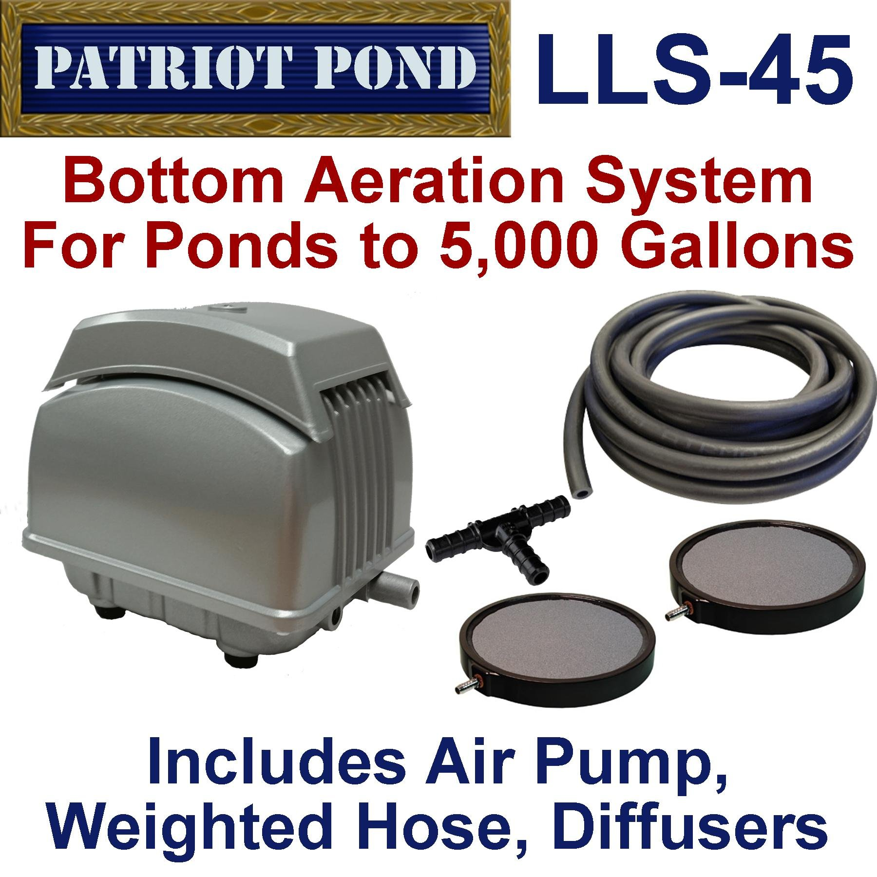 Patriot Bottom Aeration System LLS-45, For Ponds to 4,000 Gallons And Pond Depths To 15Feet by Patriot