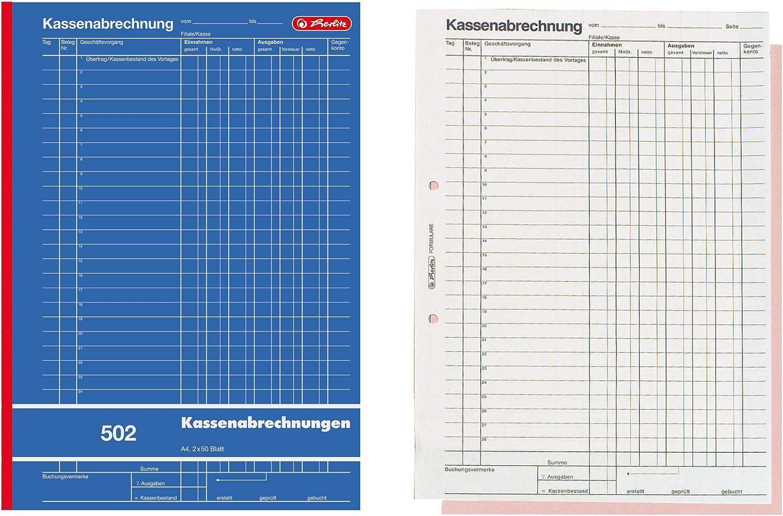 AVERY Zweckform 426 Kassenbuch A4, nach Steuerschiene 300, von Rechtsexperten gepr/üft, f/ür Deutschland zur ordnungsgem/ä/ßen, kosteng/ünstigen Buchf/ührung, 100 Blatt 2x A4 100 blatt