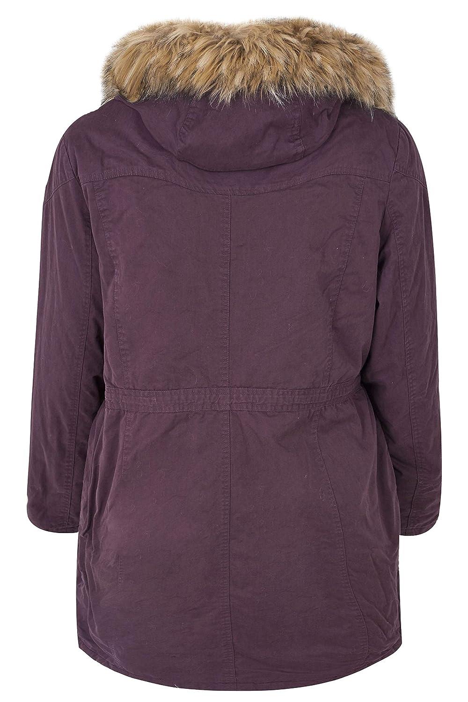 c25fe5bcf3d Yours Clothing Women's Plus Size Burgundy Lined Parka with Faux Fur Trim  Hood