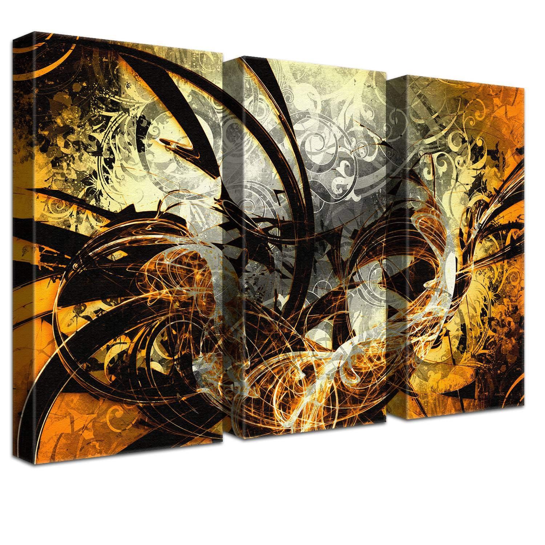 LANA KK Luxus Ausführung Jungle Graf Orange  Abstraktes Design auf 4cm Echtholz, dreiteilig, Orange, 120 x 80 cm B074T23VN2 | Hohe Qualität und günstig