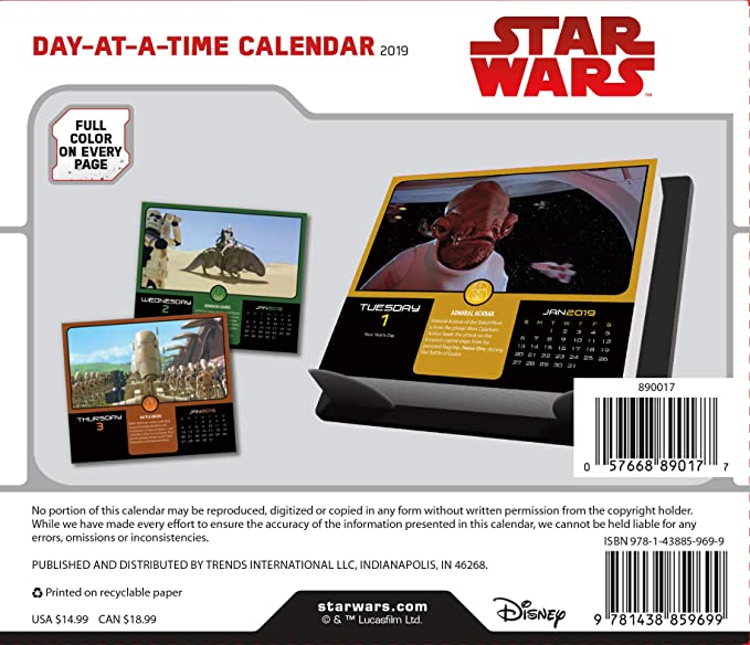 Amazon.com: Star Wars 2019 Calendario, Box Edition - Set de ...