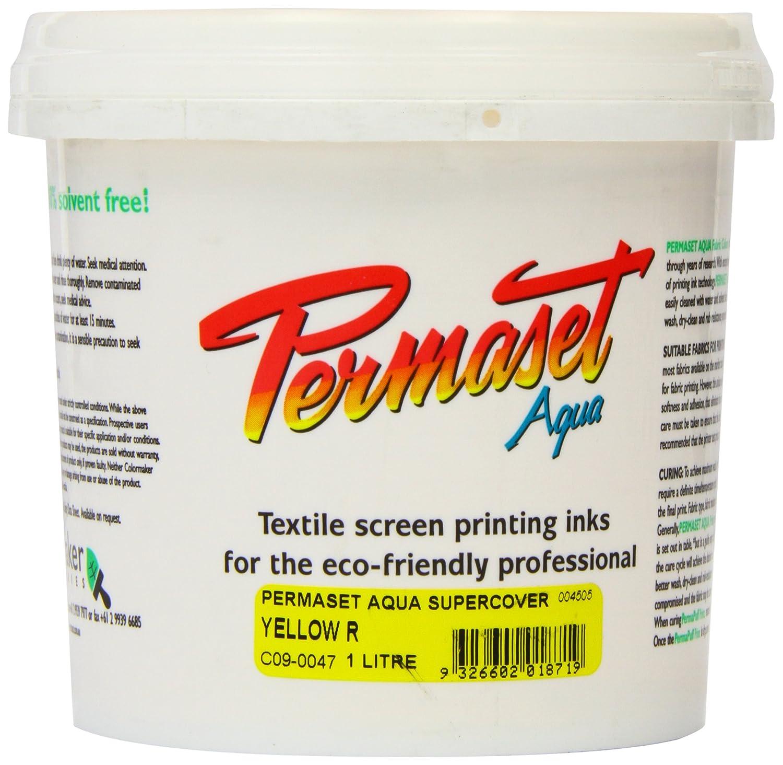 Permaset Aqua Supercover 1 Litre Fabric Printing Ink - Yellow Colormaker SR004505