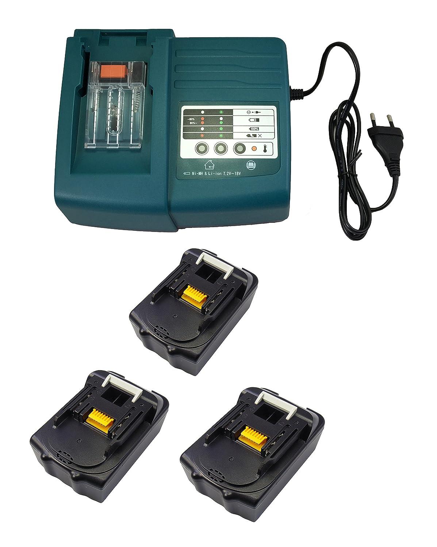 3PCS 18V 5.0Ah Werkzeug Makita Akku BL1830 BL1840 BL1850 mit Makita Ladegeräte DC18RA DC18SC DC1803 DC1804 DC14SA