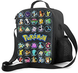 xiaoxiaoshen Pokemo-n Pikach-u Lunch Box Cartoon Anime Lunch Bag for School Lunch Tote.