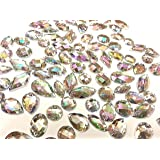 CraftbuddyUS 80 Ab Clear Faceted Acrylic Sew On, Stick on Diamante Crystal Rhinestone Gems