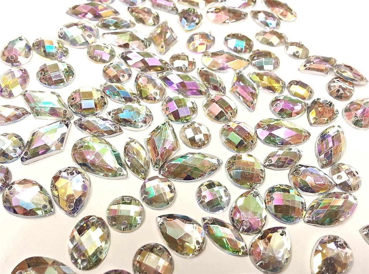 CraftbuddyUS 80 Ab Clear Faceted Acrylic Sew On, Stick on Diamante Crystal Rhinestone Gems Crystal & Gems 4337032226