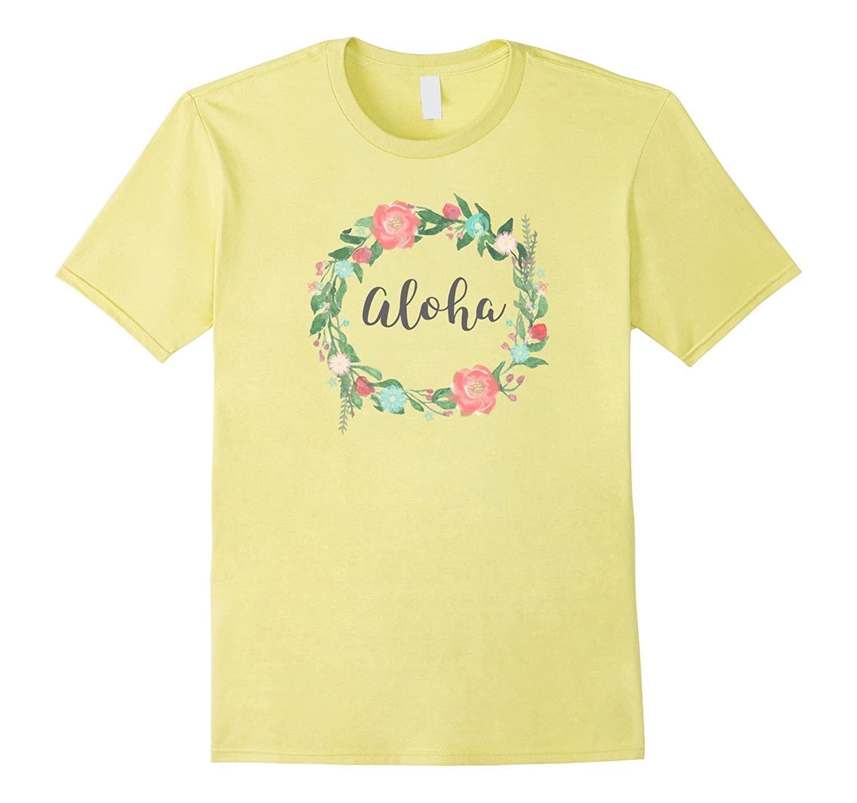 Aloha tshirt Hawaiian Word in Lei-like Floral Circle Wreath-CD