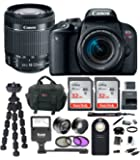 Canon EOS Rebel T7i Digital SLR Camera w/18-55mm f/4-5.6 IS STM lens + 64GB SDHC Memory + Flash + Wireless Remote Control + 58mm Wide Angle & Telephoto Lenses + Deluxe Bundle