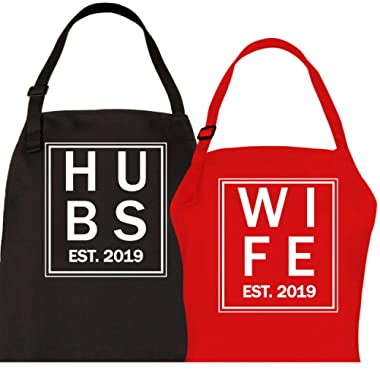 Let the Fun Begin Hubs Wife Est. 2019 Aprons, Bridal Shower Gift Set, Couples His Hers Mr Mrs Wedding Engagement Gifts, for Hubby Wifey