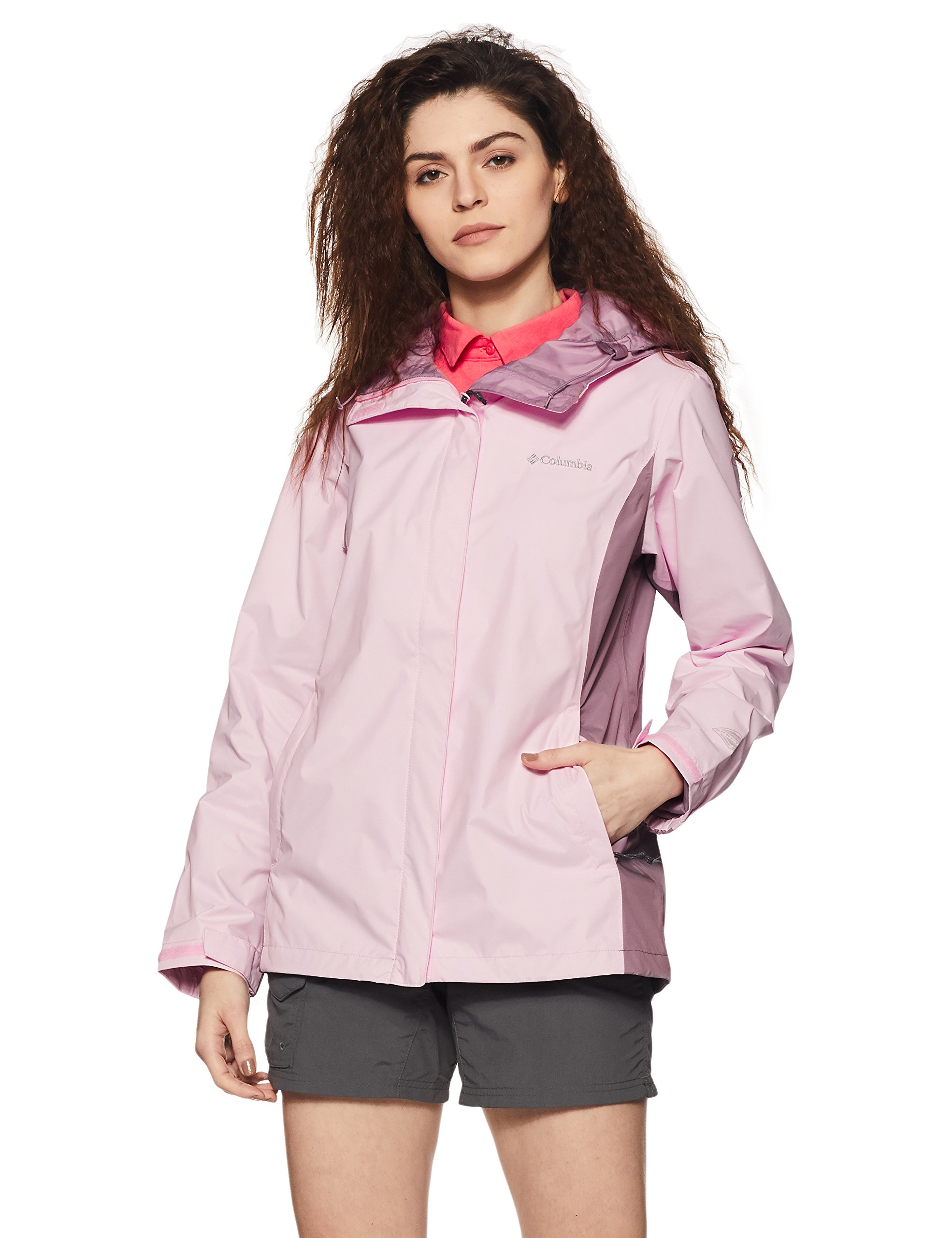 Columbia Women's Arcadia II Waterproof Breathable Jacket with Packable Hood, Whitened Pink, Small