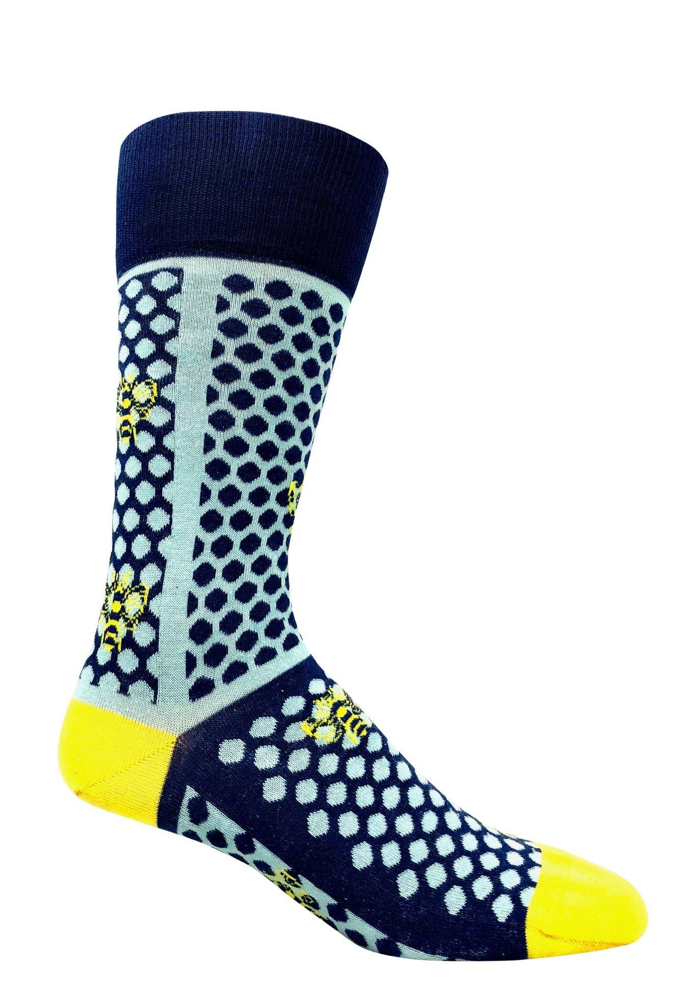 LOVE SOCK COMPANY Men's premium organic cotton patterned casual socks - Bee Dots Light Blue