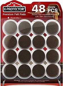 Felt Furniture Pads X-PROTECTOR-48 Premium Felt Pads Floor Protector Grey-Chair Felts Pads for Furniture Feet Wood Floors - Best Furniture Pads for Hardwood Floors - Protect Your Wood Floors! (Brown)