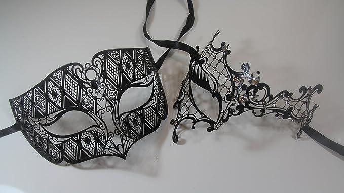 mens mask couples mask set mens black metal phantom mask Womens silver mask couples mask pair his and hers masks for couples