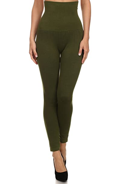 f2c0251a759664 Women's High Waist Compression Top Leggings, French Terry Lining (Army Green,  One Size