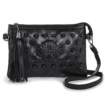 ee91ce825e LaRechor Mini Sacs Bandoulière pour Femme Sac Pochette Portefeuille Frange  avec Sangle Épaule et Bracelet (