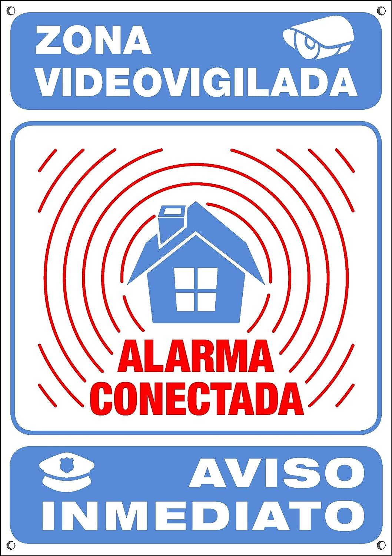 Mini-Cartel disuasorio interior/exterior Premium y Ultra-resistente metálico, Cartel disuasorio alarma conectada aviso policía, 7x5 cm