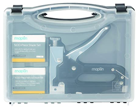 Maplin 3 In 1 Staple Nail Gun Kit Hand Operated Storage Case Handle