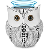 Station Stand for Amazon Echo Dot 2nd 1st Generation Speaker (White) - Crafted Owl Statue Guard Station Stand, Cabinet Mount Table Holder Mounting Base [BFF for Alexa Dot], Echo Dot Docking Station