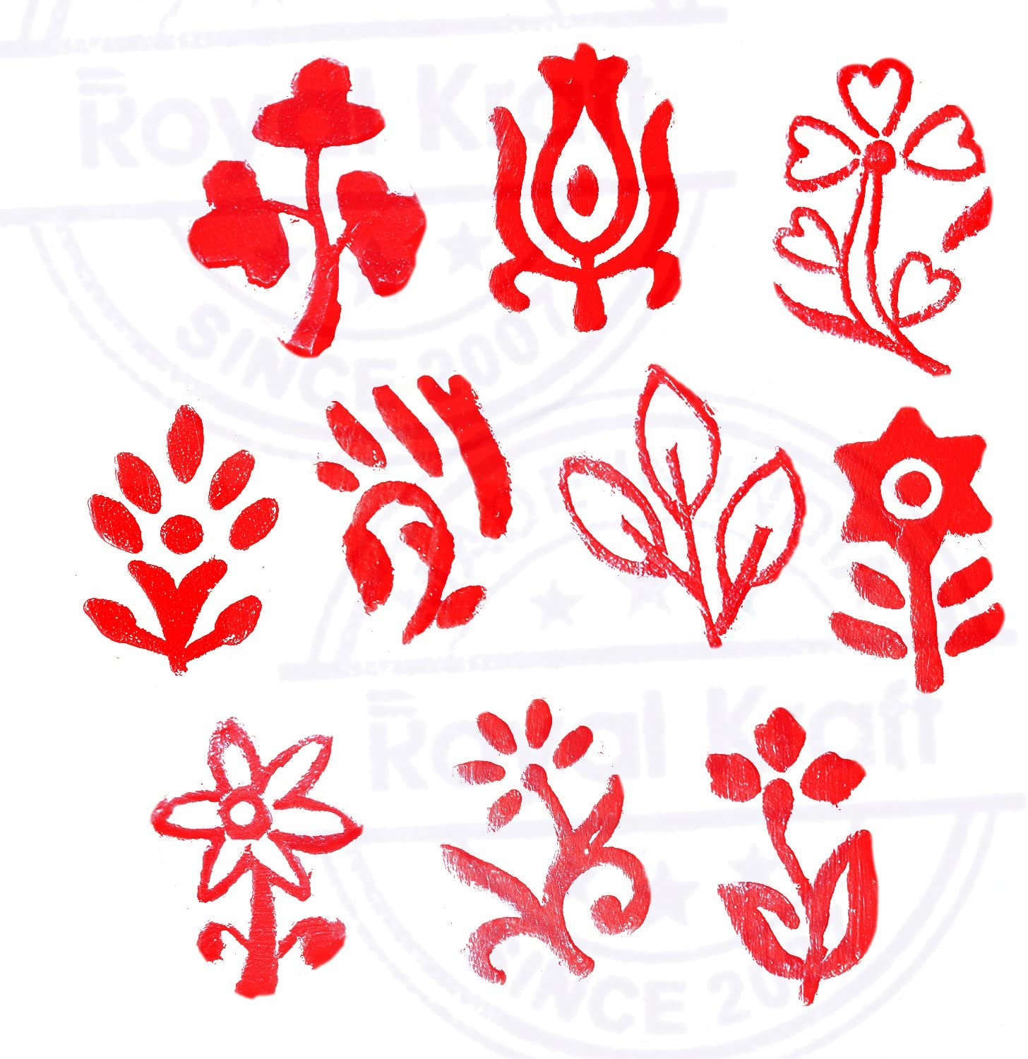 Set of 10 Henna Wooden Stamps Urban Small Round Floral Pattern Printing Blocks