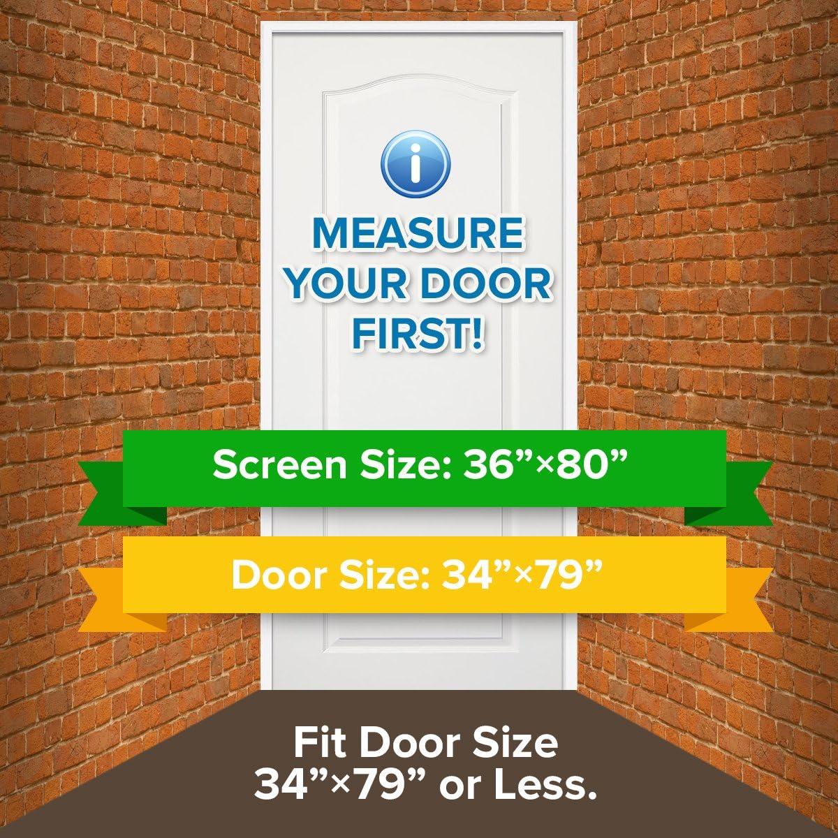 Fits Door Opening Up to 34x95 Full Frame Loop Sewn,Quick Close No Slightest Gap Dooreasy Hands-Free Magnetic Screen Door Polyester Mesh