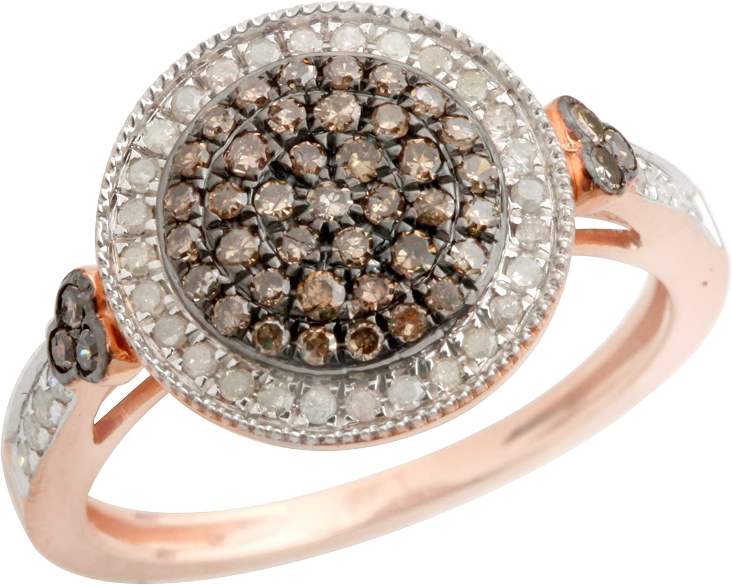 Prism Jewel 0.49 Carat Natural Round Brown Diamond With Diamond Cluster Ring