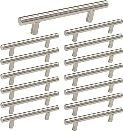 Brushed Nickel Cabinet Hardware Kitchen Cabinet Pulls 15 Pack Homdiy Hd201sn 3 34 In Hole Centers T Bar Cupboard Drawer Pulls Stainless Steel