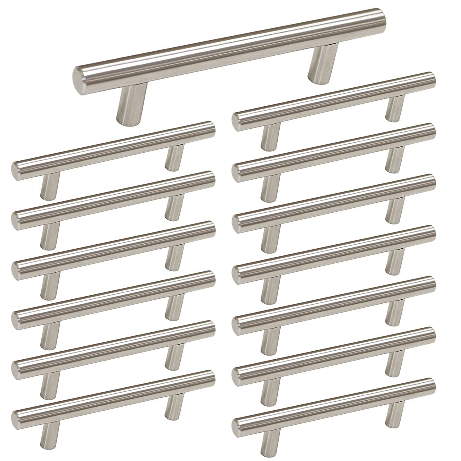 Brushed Nickel Cabinet Hardware Kitchen Cabinet Pulls 15 Pack Homdiy HD201SN 3 3 4 in Hole Centers T Bar Cupboard Drawer Pulls Stainless Steel