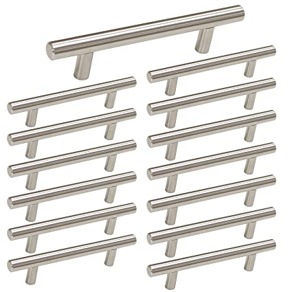 Cool Brushed Nickel Cabinet Hardware Kitchen Cabinet Pulls 15 Pack Homdiy Hd201Sn 3 3 4 In Hole Centers T Bar Cupboard Drawer Pulls Stainless Steel Interior Design Ideas Grebswwsoteloinfo