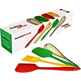 DenadaDenada Cooking Utensils Gift Set - 4 Silicone Kitchen Tools - Red Spatula, Green Spoon, Yellow Brush, Multicolored Whisk