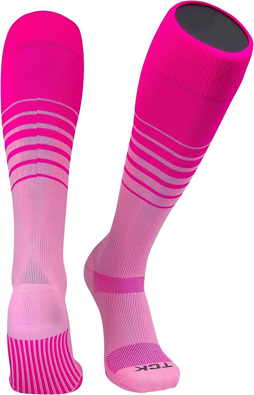 TCK Elite Breaker Fade Lines Knee High Socks Hot Pink, Pink