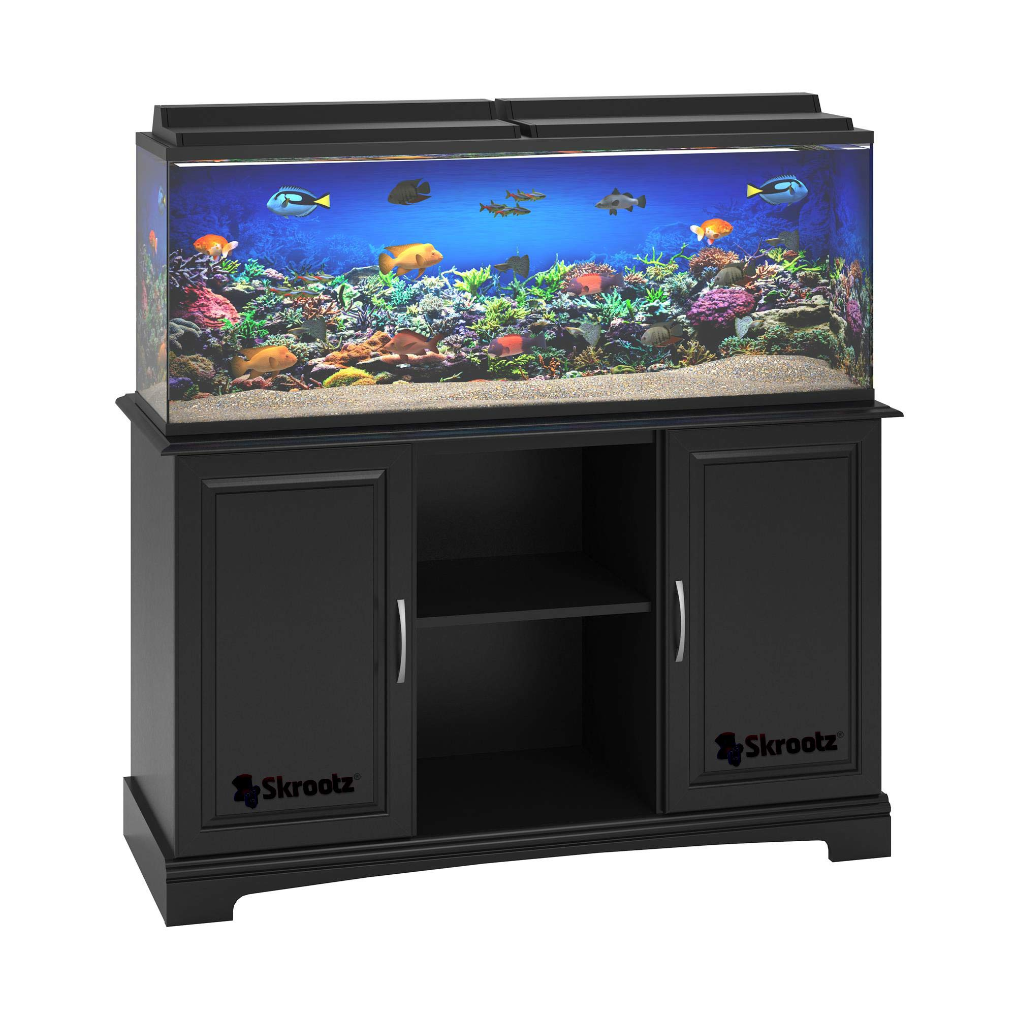 Skrootz – Black 55 Gallon Aquarium Stand Great for 50-75 Gallon Tanks Made of Laminated Particleboard and MDF