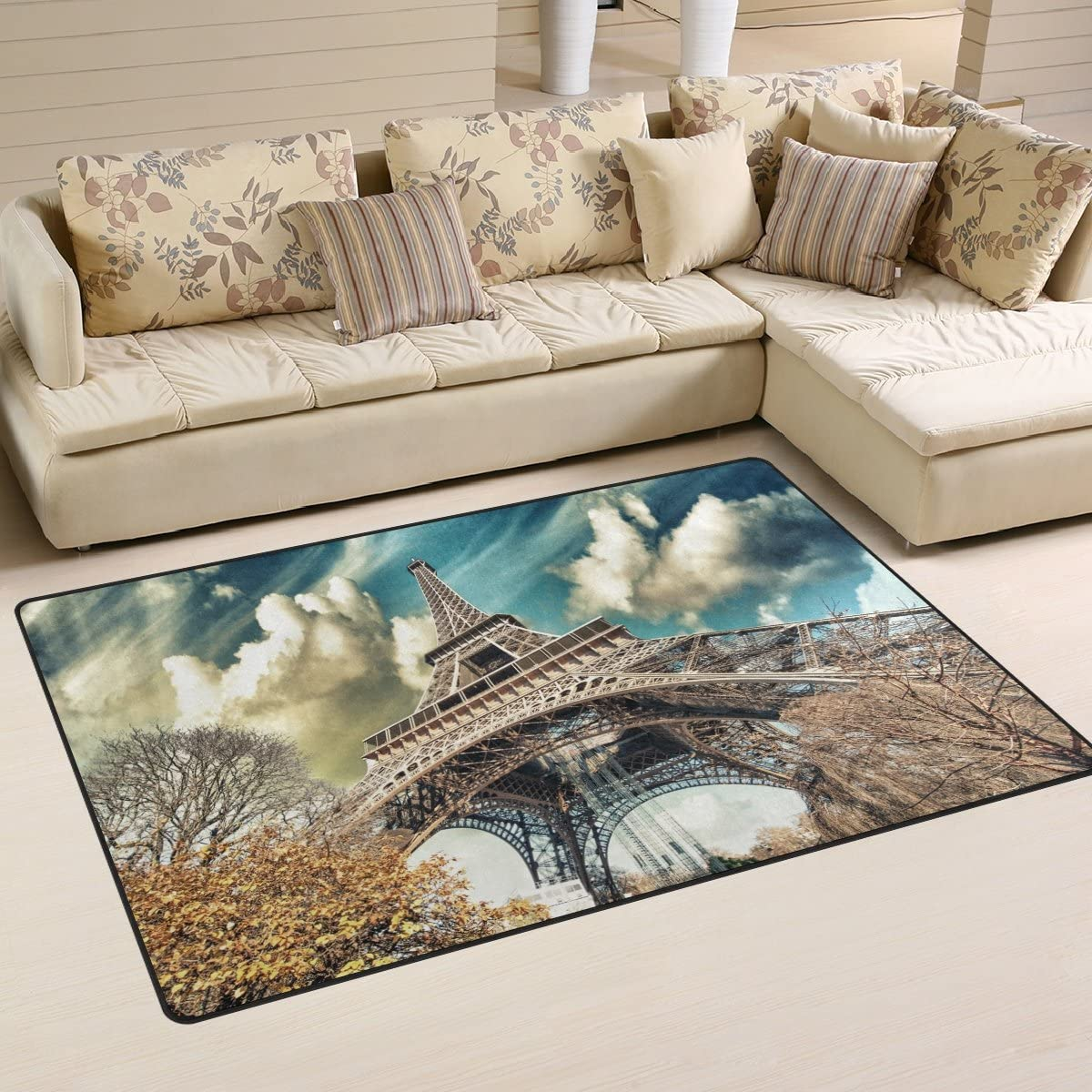LORVIES Wonderful Street View of Paris Eiffel Tower Area Rug Carpet Non-Slip Floor Mat Doormats for Living Room Bedroom 60 x 39 inches