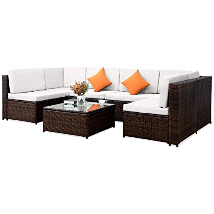 Fabulous Rhomtree Outdoor Rattan Sectional Sofa Set Wicker Furniture Conversation Sofa Couch With Beige Washable Seat Cushion Glass Coffee Table Inzonedesignstudio Interior Chair Design Inzonedesignstudiocom
