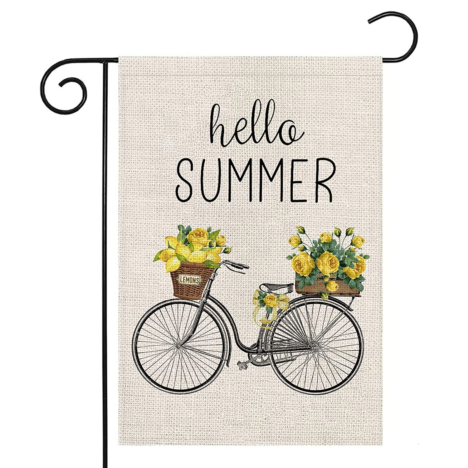 LARMOY Hello Summer Garden Flag for Outside,Bicycle with Lemons Flowers,12×18 Inch Vertical Double Sided,Welcome Summer Yard Flags for All Seasons,Small Seasonal Rustic Farmhouse Porch Outside Décor