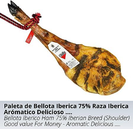 Paleta de Jamon de Bellota Iberico 75% Raza Iberica - Jamon Iberico de Elaboracion Artesanal – Embutidos Ibericos de Bellota Pieza Tradicional 5.5 - 6 kg