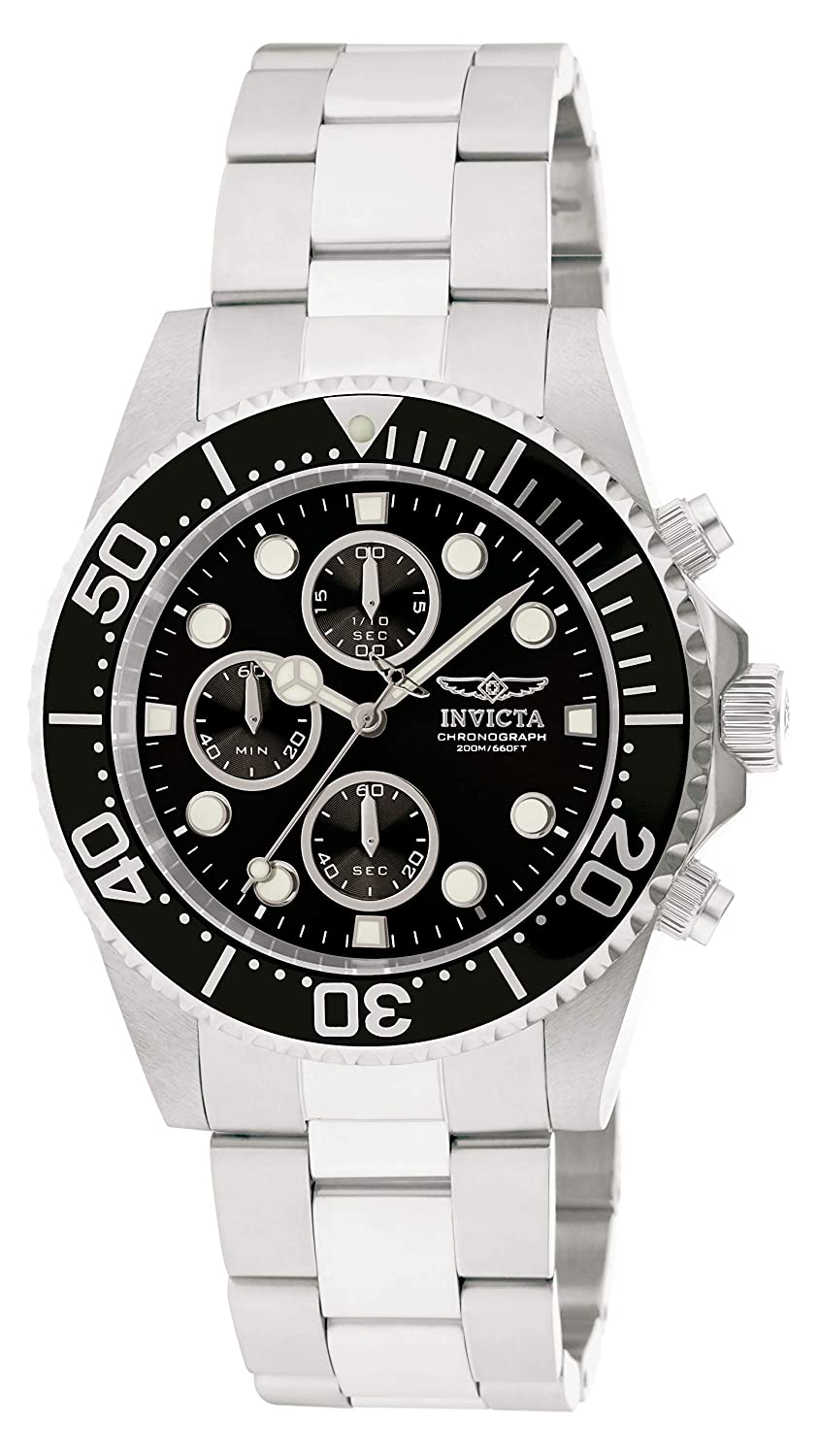 Amazon.com: Invicta Men's 1768 Pro Diver Collection Stainless Steel Watch  with Black Dial: Invicta: Watches