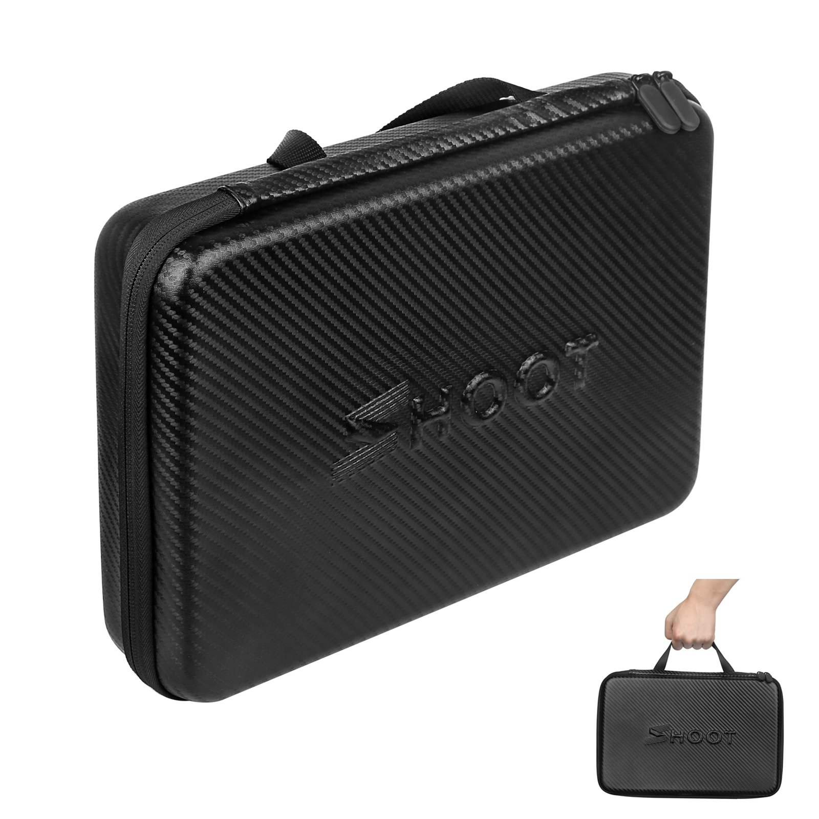 D&F PU Waterproof Carrying Case Storage Bag Protective Shockproof Box for GoPro HERO 6/5/4/3+/3 SJCAM Xiaomi Yi Sport Camera Accessories - Large