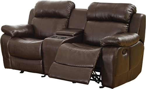 Homelegance Marille Reclining Loveseat w/ Center Console Cup Holder