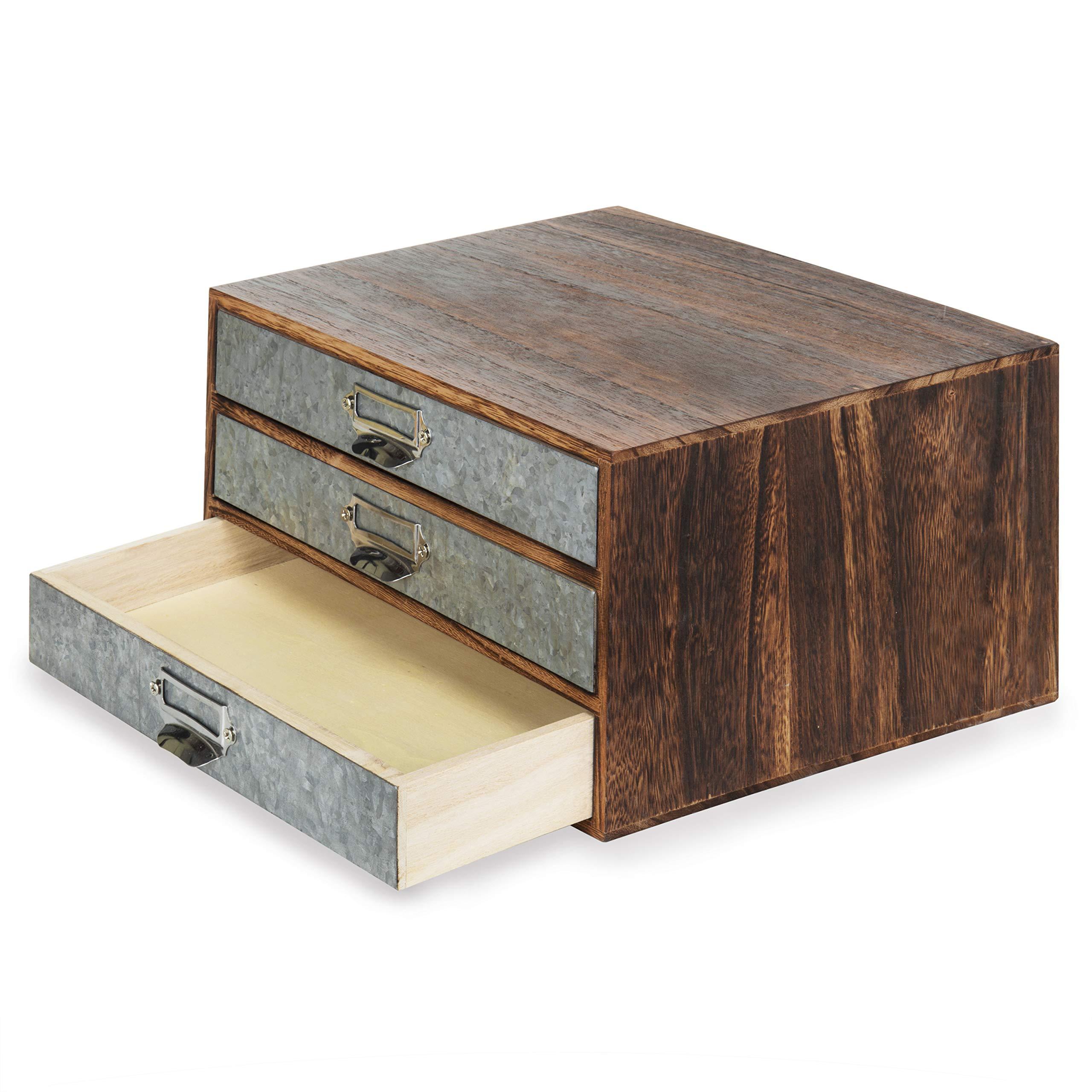 MyGift Rustic Wood & Galvanized Metal 3-Drawer Document Organizer by MyGift