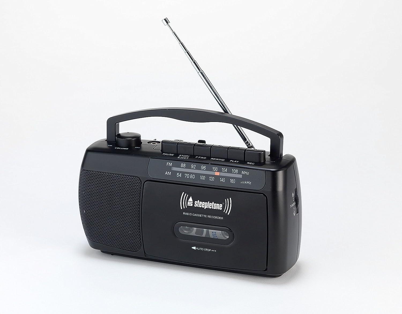 colore nero Steepletone SCR209/Portable mw-fm radio cassetta lettore registratore con microfono integrato